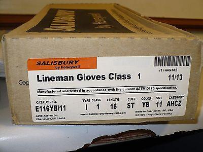 Salisbury Electrical E116yb11 Class 1 Lineman Gloves 1 Pair New