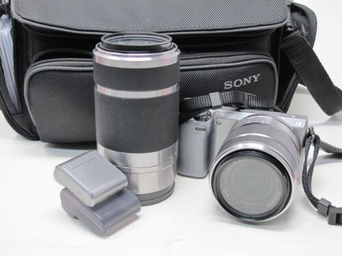 Sony NEX-5r Camera w/ 2 Zoom Lens Kit, Flash, Clean and Working