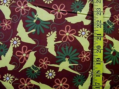 FRESH FROM THE GARDEN GOLD  BIRD PRINT 100% COTTON FABRIC BY THE 1/2 YARD