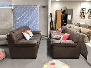DELIVERY TODAY RARE LUXURY GENUINE LEATHER BIG 3x1x1 Sofas set Belmont Belmont Area Preview