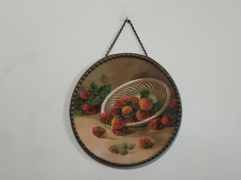 Antique Victorian Flue Cover Lithograph Colander with Strawberries Germany