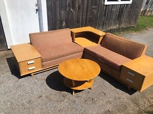 Original mid century Sectional sofa and coffee tables.