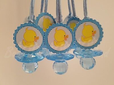 12 Duck Diamond cut Pacifier Necklaces Baby Shower Blue Favors Boy Games - Duck Baby Shower Decorations