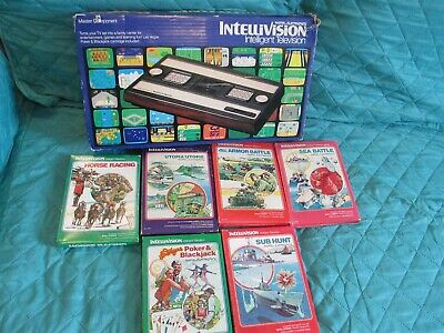 VINTAGE MATTEL INTELLIVISION ELECTRONIC VIDEO GAME CONSOLE IN BOX WITH 6 GAMES