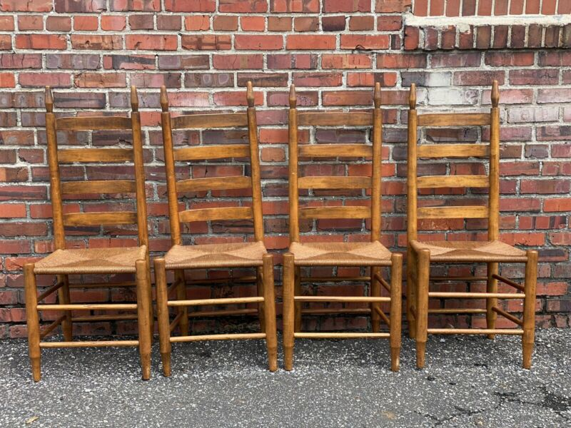 Set Of 4 Rush Bottom Vintage Shaker Ladder Back Chairs Farmhouse FREE SHIP