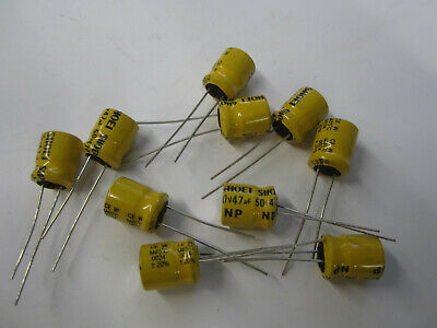 Shoei 47uf 50v Radial Electrolytic Np Capacitor 85c 20  Qty 25