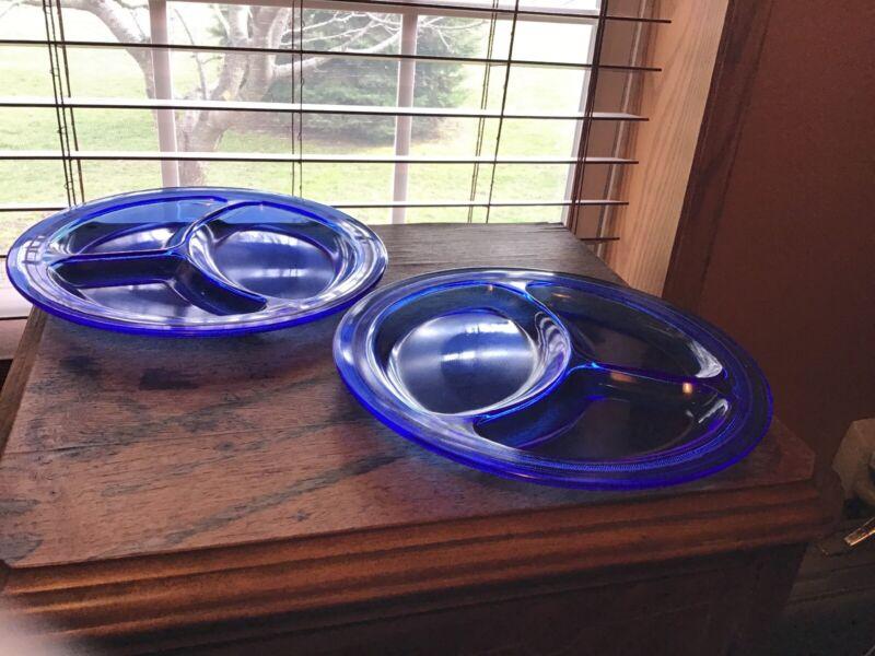"RARE LE Smith Mt Pleasant Cobalt Blue Silver Trim Divided 9"" Grill Plates"