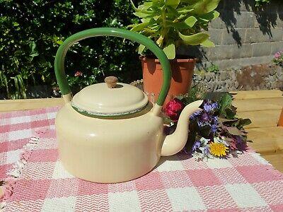 Charming Vintage Cream Green Enamel Teapot Kettle Farmhouse Country Kitchenware