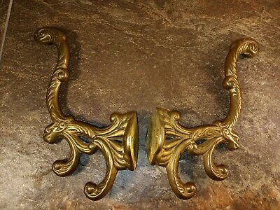 """Vintage pressed brass ornamental picture hook 1 1//2/"""" x 1 3//8/"""" several available"""