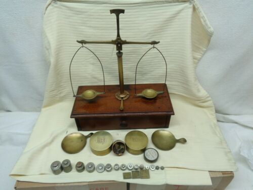 1901 Brass Balance Scale Mounts on Wood Box with Drawer Plus