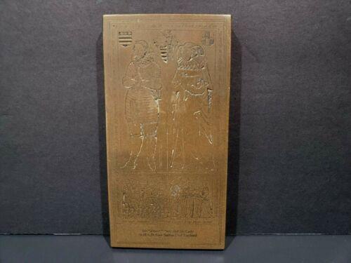 Vtg Monumental Brass Rubbing Plaque Sir Edward Filmer Lady 1638 AD E Sutton Kent