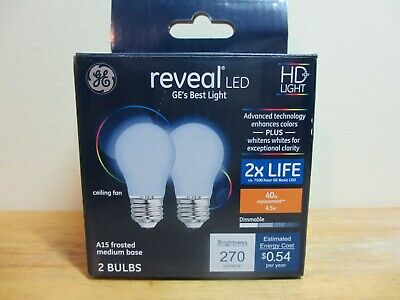 GE Reveal HD+ LED Light Bulbs, 2 pack Ceiling Fan A15/40w replacement/4.5w for sale  Shipping to India