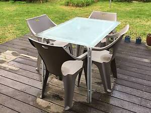 5pc Outdoor Glass Table Chairs, good condition. Moriac Surf Coast Preview