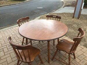 Solid wooden Table and four chairs colonial style