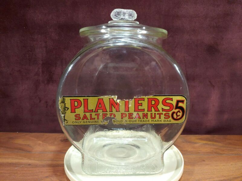 VINTAGE PLANTERS PEANUTS 5c CLEAR GLASS FISHBOWL STORE COUNTERTOP JAR W/ LID