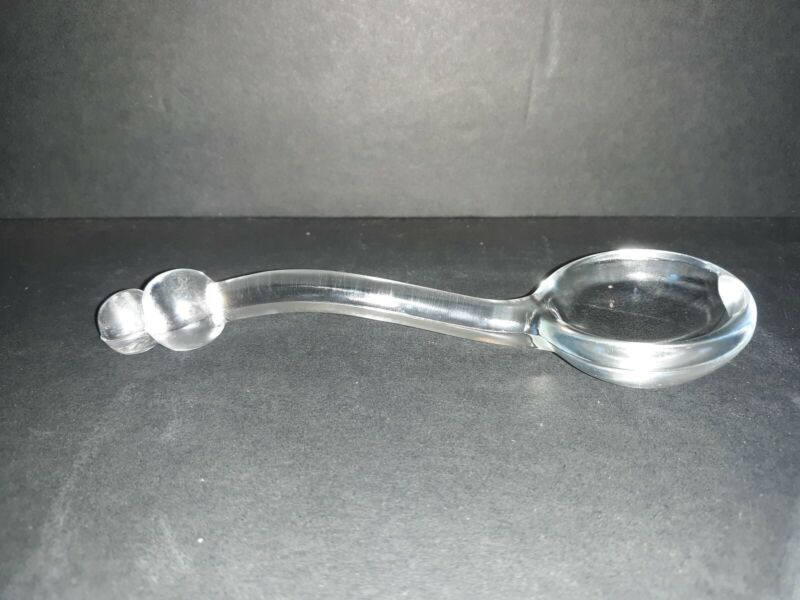 """Vintage Clear Glass Condiment / Mayonaise Spoon Ladle w/ Ball Handle - 5"""" - EC"""