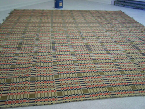 Early American woven cotton wool coverlet