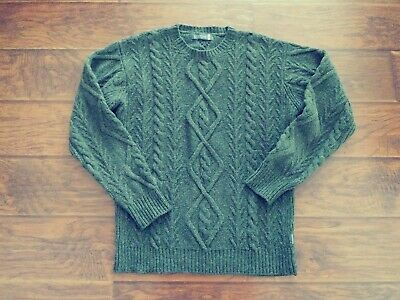 Fisherman Out Of Ireland Men Wool Cashmere Cable Knit Pullover Sweater Olive M/L