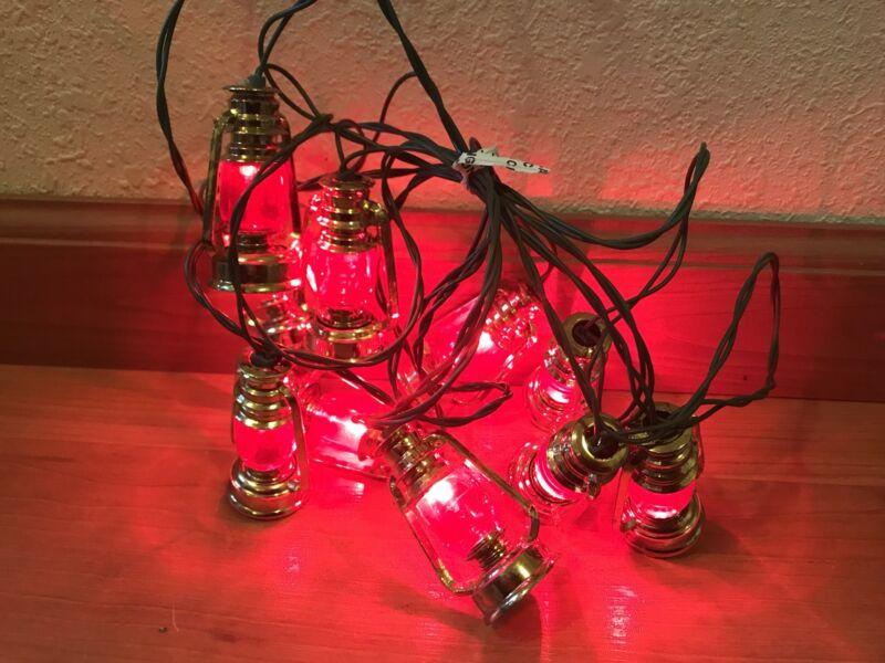 Strand of Vintage Railroad Lantern Shaped String Lights - 10 Lights - Working
