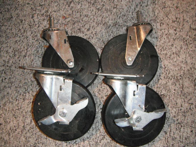 "5"" Swivel Casters - Set Of Four - 2 Stem - 2 Bolt on Locking - Rbber Wheels"