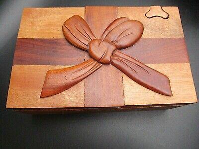 Inlaid Wood Puzzle Box Key Hidden Secret Compartment Jewelry Treasure -