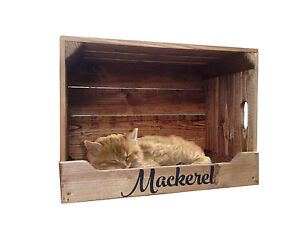 Personalised wooden pet bed crate with roof cats or for Dog bed roof