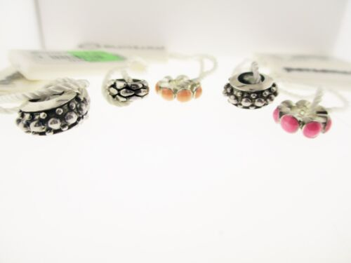 Persona Lot Of 5 Sterling Silver & Pink & Peach Beaded With Tags Charm Beads