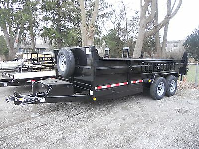 Brand New 2019 83 X 16 Dump Trailer 14000 G.v.w.r. Ramps D-rings 3 Way Gate