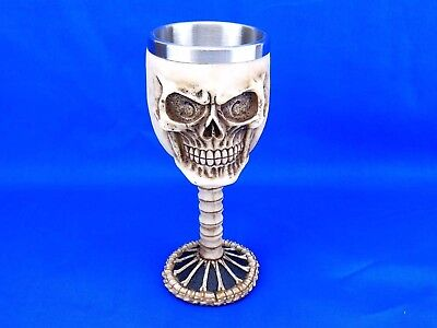 Skull Kelch Krug mit Edelstahleinsatz Skelett Totenkopf Halloween Gothic