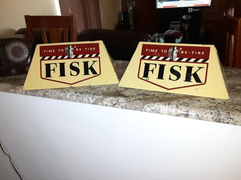 Vintage Fisk Tire Sign Original Store Display Stand 2 Oil Gas Station Signs
