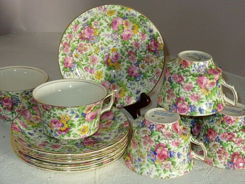 6 Sets Royal Winton Grimwades Chintz China SUMMERTIME Cups & Saucers Pre-1960