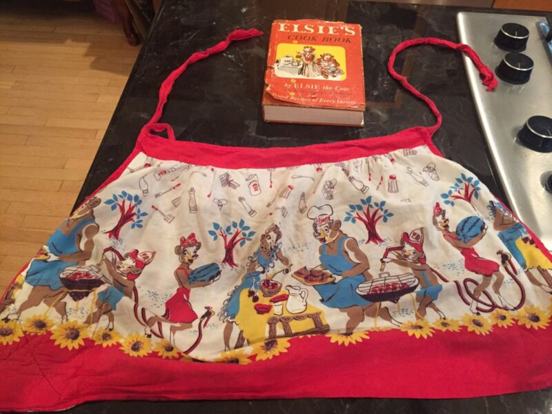 ELSIE THE COW VTG ADVERTISING APRON & 1952 ELSIE'S COOKBOOK