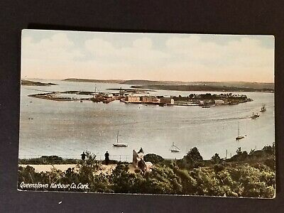 Mint Ireland Queenstown Harbor Cork County Scenic Island View Vintage Postcard  for sale  Shipping to Canada