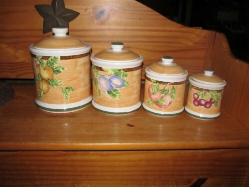 Jay Imports Vintage 4 Piece Fruit Design Ceramic Kitchen Canister Set