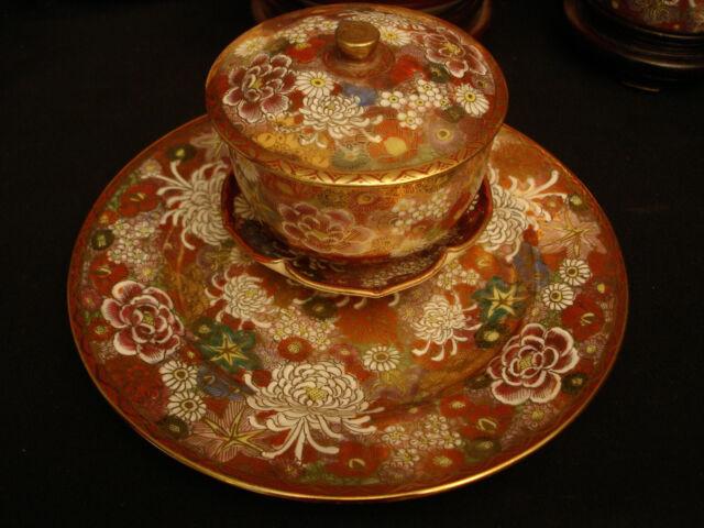 MARKED Shuzan JAPANESE MEIJI SATSUMA THOUSAND FLOWER TEA SET CUP & SAUCER PLATE
