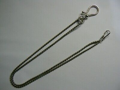 Stunning silver tone double Albert pocket watch chain with hook lock & lobster