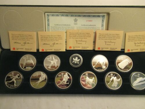 1988 Canada Calgary Winter Olympic Sterling Silver Proof Set, 10 coins