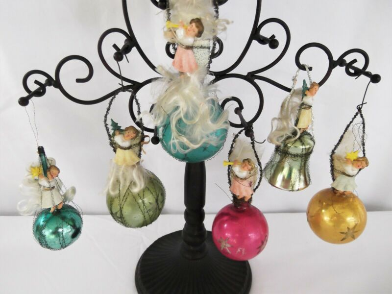 6  Vintage German Glass Wire Wrapped Angel Christmas Ornaments 1940