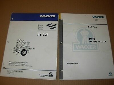 Wacker PT 6 Trash Pump Service Repair , Operator's & Parts Manuals , 2 vol  - 6 Trash Pump