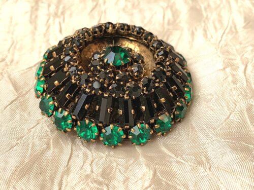 Beautiful Antique French brooch - Green & Black rhinestones /crystals 4cm