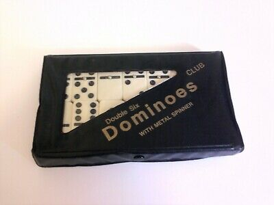Club Double Six Dominoes with Metal Spinners & Case