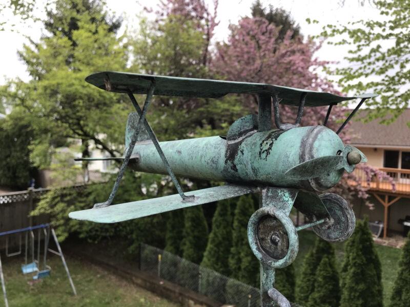 Antique Vintage Copper BiPlane Weathervane Garden Art