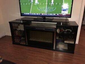 Fireplace tv stand entertainment unit