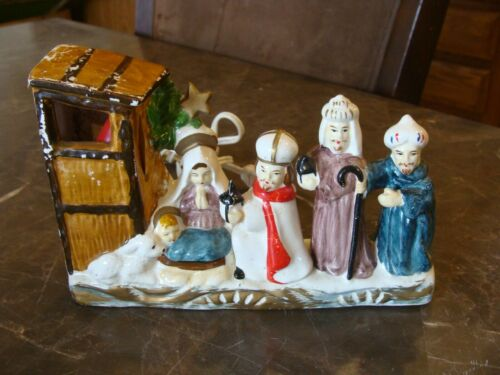 Vintage Ceramic Christmas Nativity Lighted Japan Works Small