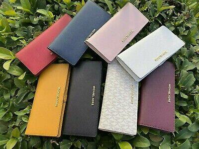 NWT Michael Kors Jet Set Travel Flat Slim Bifold Saffiano Leather Wallet