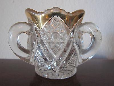 Vintage Antique Cut or Pressed Glass 3 Handled Cup or Cigarette Holder