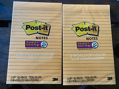 Two Packs Post-it Brand Super Sticky Notes 5x8 Lined Colorful 180 Sheets