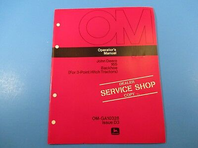 John Deere Operators Manual Om-ga10328 165 Backhoe 3 Point Hitch Issue D3 M5213