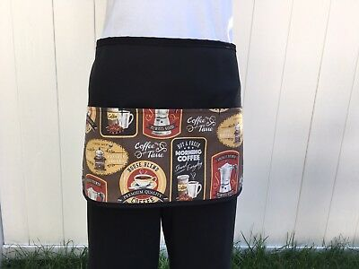 Black Coffee Server Waitress Waist Apron 3 Pocket Restaurant Classyaprons