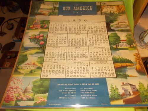 "1956 ORIGINAL PURE OIL ""OUR AMERICAN"" ADVERTISING CALENDER!!"